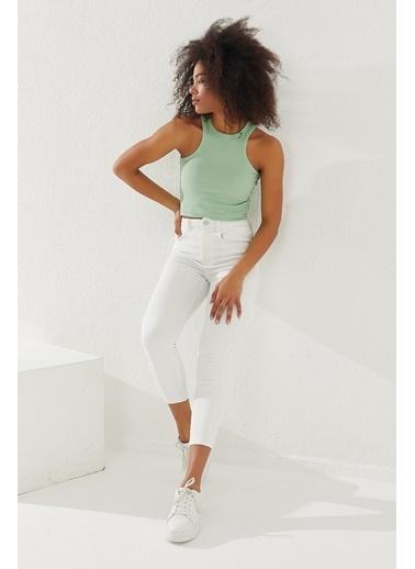 Reyon REYON Kadın Kalın Askılı Crop Bluz Mint Yeşili Yeşil